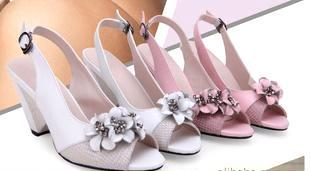 2011新款 鱼嘴鞋 羊皮蝴蝶女凉鞋