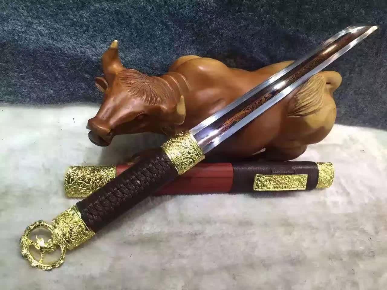 龙泉刀剑 厂家直销 环首刀 唐刀花纹钢发红 日本刀 批发 未开刃