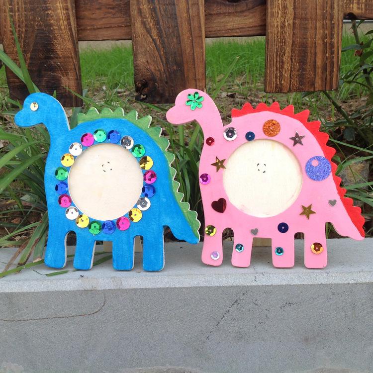 儿童爱心 卡通原木质相框 幼儿园diy手工制作材料包可爱绘画趣味图片