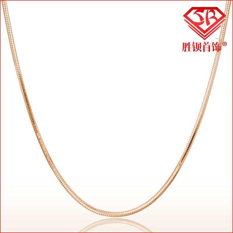 胜钡S925纯银项链电镀玫瑰金韩国新品.2mm蛇骨链圆蛇链 女款爆款