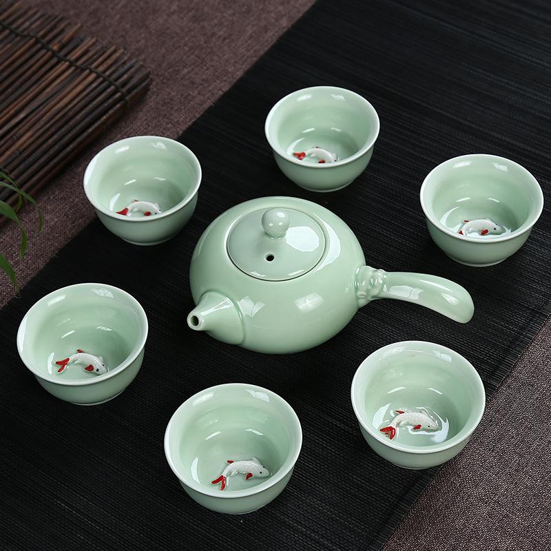 厂家直销龙泉青瓷茶具套装陶瓷茶壶礼品功夫茶具批发定制LOGO