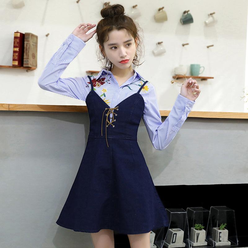 一件代发2017春夏新款韩版女装牛仔连衣裙吊带A字裙短裙子