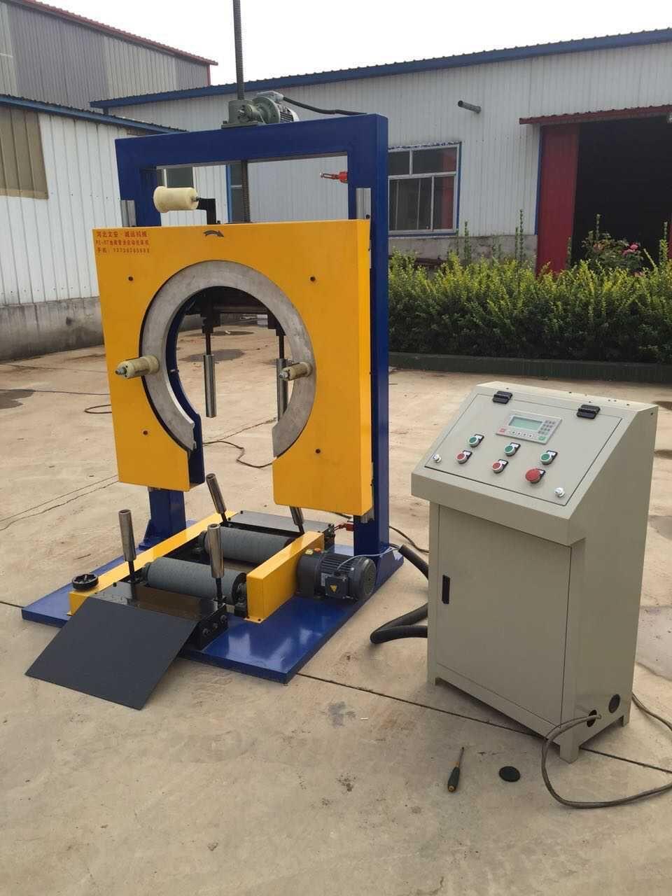 全自动PERT地暖管打包机PE盘管包装机采用PLC控制系统