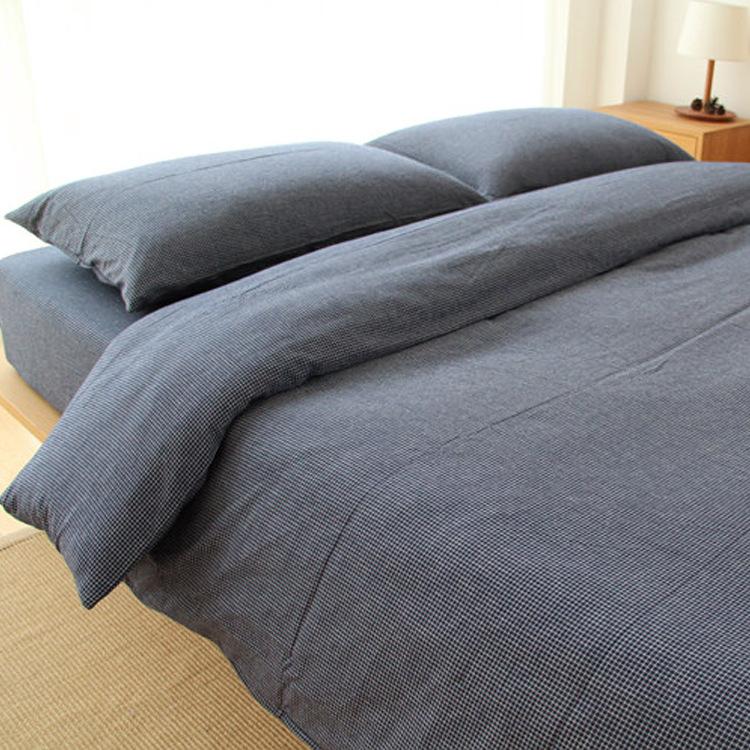 日式无印同款全棉水洗棉四件套被套床笠1.5 1.8米双人床品套件