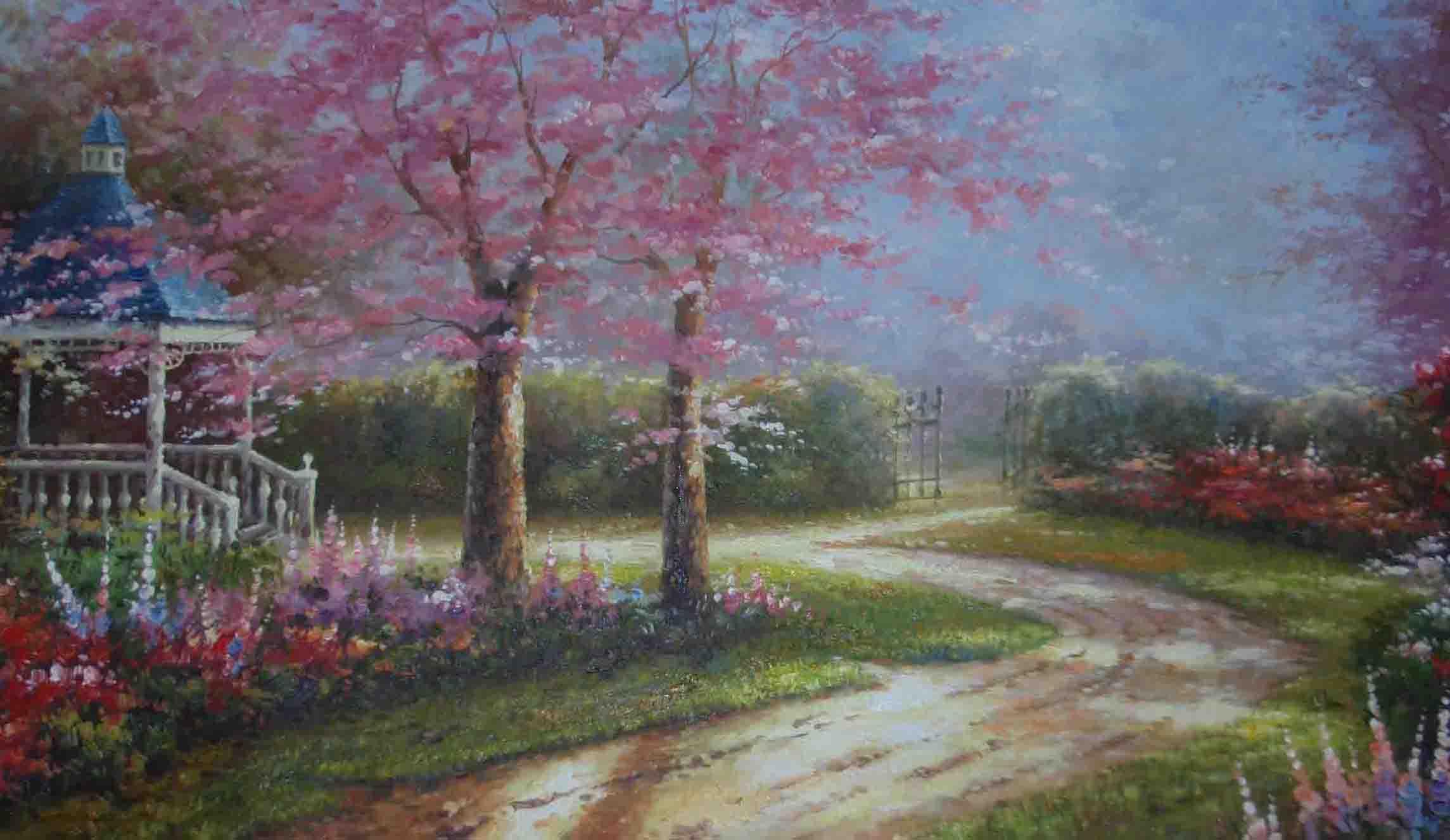 彩铅画天空树木风景画