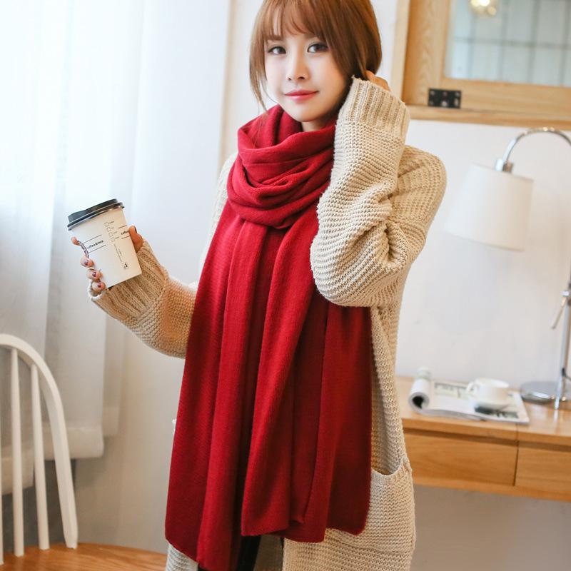 韩版纯色针织毛线围巾女冬天围巾披肩两用秋冬季加厚保暖情侣围巾