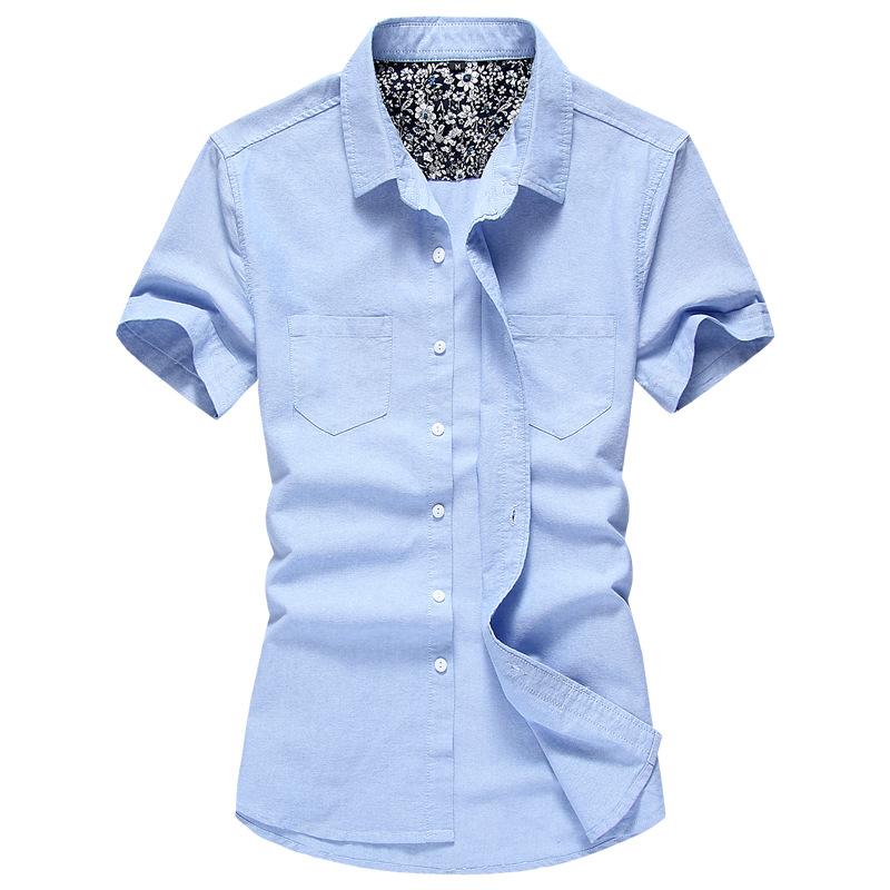 2015夏装短袖衬衫男士韩版纯棉修身纯色休闲牛津纺衬衣男一件代发