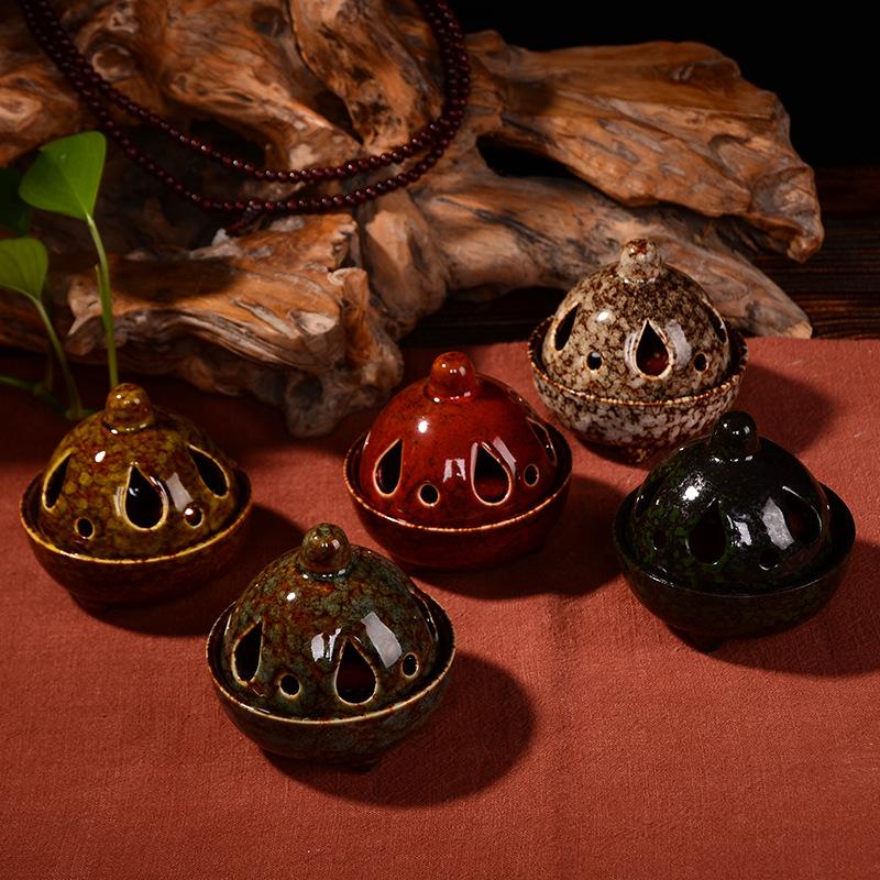 批发宝塔香炉 陶瓷盘香座 陶瓷工艺品 多色可选工艺摆件香薰炉