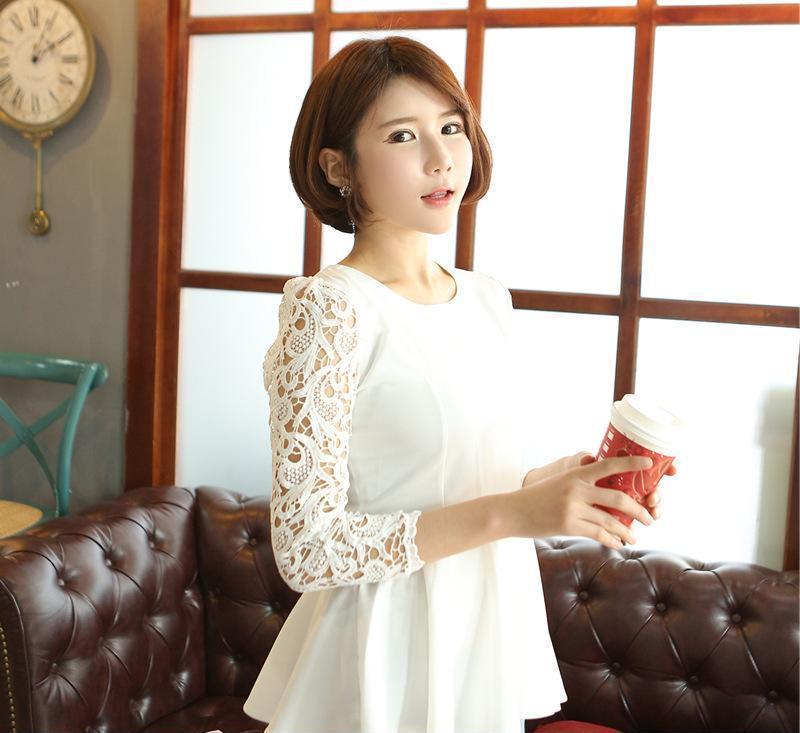 2014春装新款蕾丝七分袖圆领修身雪纺上衣女衬衣一件代发
