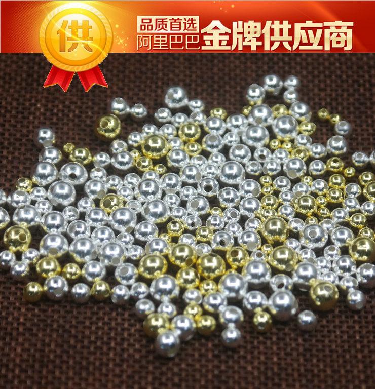925纯银空心光珠配件 3456mm diy散珠圆珠串珠 厂家批发直销