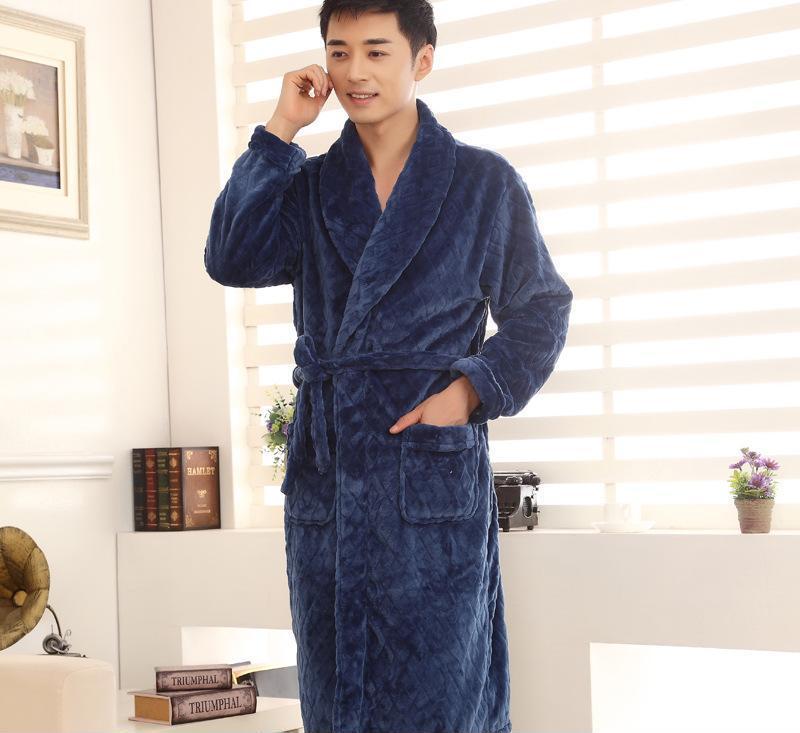 厂家直供 男士冬季睡衣 新款加厚加肥加大码保暖男士睡袍 浴袍