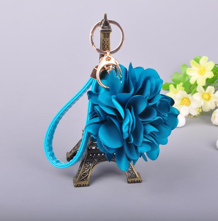 韩国玫瑰布艺花朵汽车钥匙扣 时尚车钥匙挂件女创意钥匙链包挂饰图片