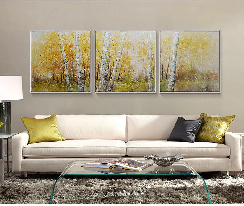 风景油画沙发背景墙装饰画客厅装饰画三联挂画立体壁画  材质 油画布图片