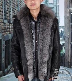 毛皮厂家批发9163款 植鞣绵羊皮皮衣 整条银蓝狐皮草