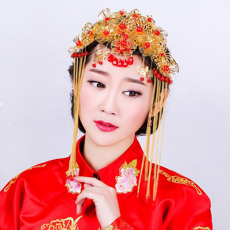 復古新娘古裝頭飾 紅色圓珠水鑽花朵發梳新娘配飾 新娘飾品批發