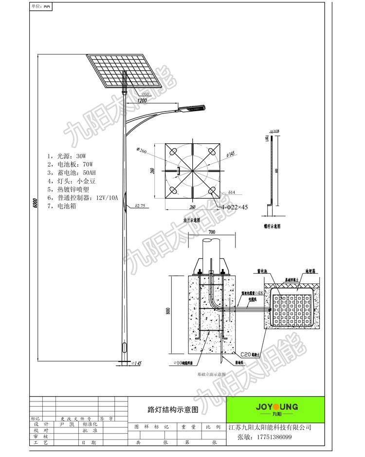 热镀锌锥度杆,外表喷塑处理(可根据要求设计) 适配光源:18w~150wled灯图片
