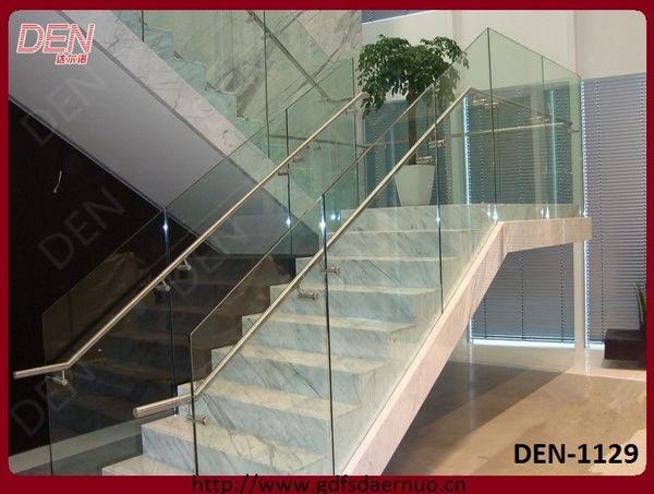 专业设计出口钢木旋转楼梯大型带玻璃扶手 直梯l型玻璃楼梯