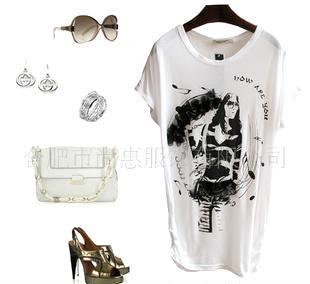 批发2011新款 丝光棉 欧美 蕾丝 短袖 订珠 宽松 女款T恤 白
