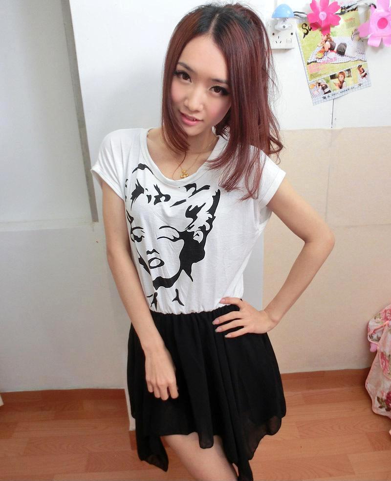 2013韩版女装新款梦露头像 雪纺不规则拼接连衣裙 夏季爆款
