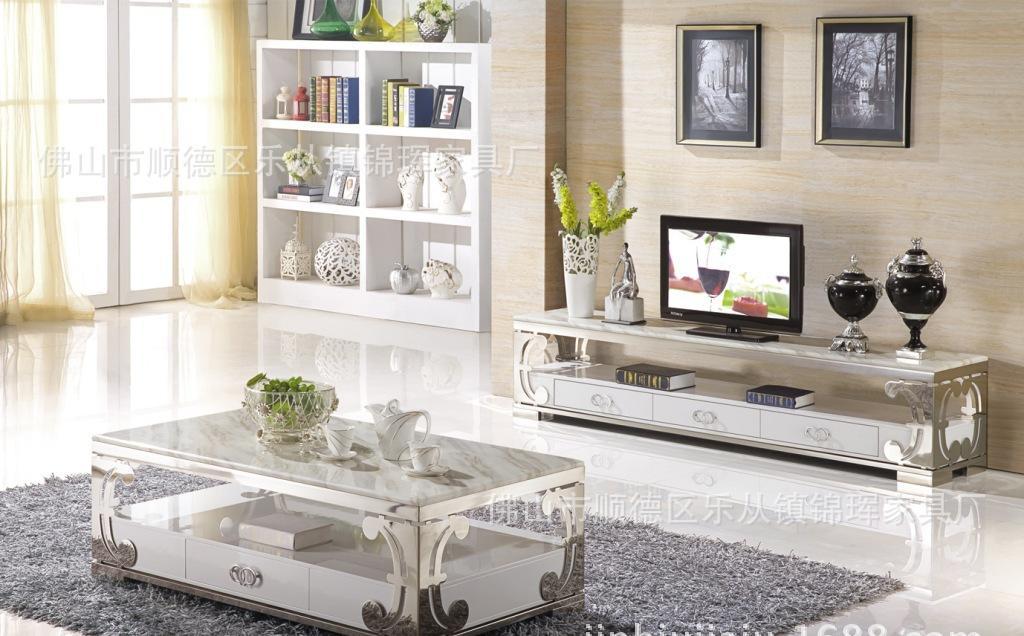 天然大理石桌面全不锈钢架茶几电视柜地柜玻璃钢茶几图片