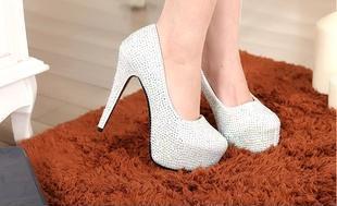 欧美CL女鞋公主水晶鞋水钻鞋Louboutin 超高跟鞋防水台夜店结婚鞋