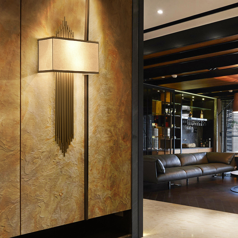 新中式壁灯卧室床头灯 现代简约酒店走廊过道灯复古楼梯客厅灯具图片