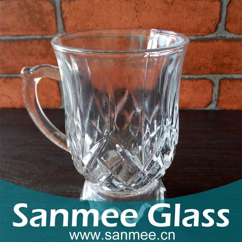 三美工厂低价直销空心花瓣底机压玻璃咖啡杯 全网直销 精美咖啡杯