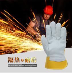 鼎元半皮手套 电焊手套头层牛皮手套劳保焊工防护手套 加厚耐磨