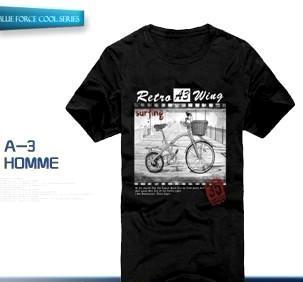 批发 供应 时尚 短袖T恤 韩版潮男修身纯棉时尚自行车印花 三色入