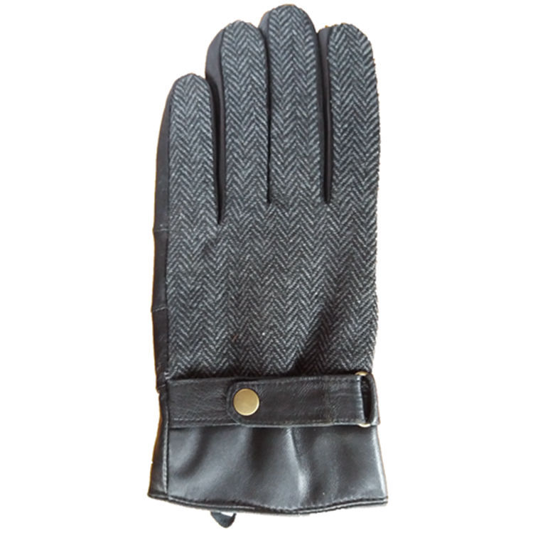 厂价直销新款人字尼手套 男女款 绵羊皮拼皮手套外贸订货