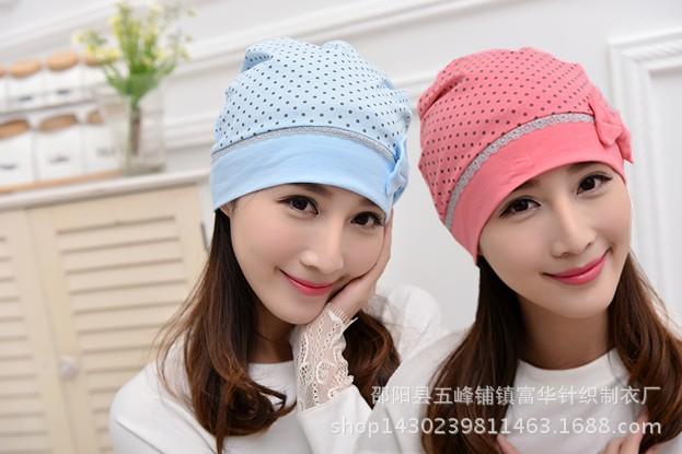 月子帽2016年新款 韩版蝴蝶结产妇帽子 浅蓝枚红孕妇帽子