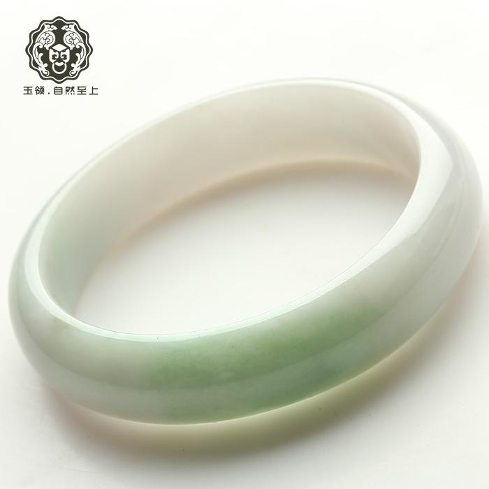 正品玉领天然翡翠A货 晶莹水绿玉手镯玉石收藏手镯 59mm