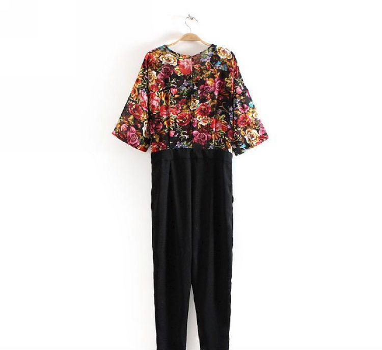 B145-85-028 F.M.P 9090 2014欧美时尚高贵优雅花朵拼接连体裤