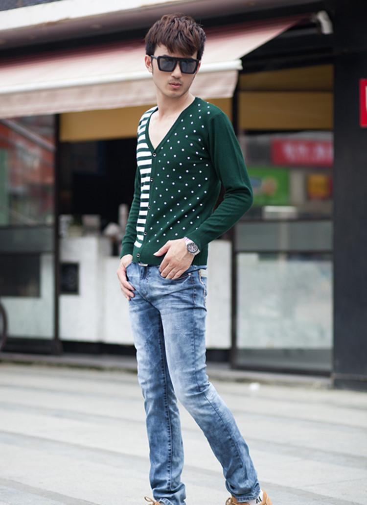 男士v领秊(hzx���_新款韩版男士毛衣开衫 男式条纹毛衣 男装线衫 毛衣男 针织衫批发