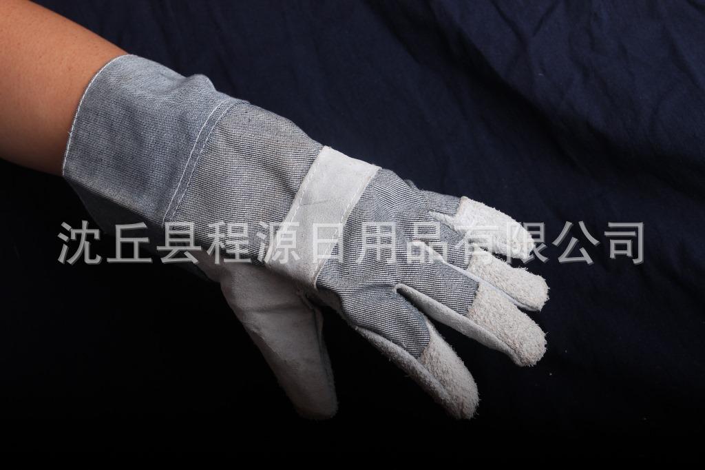 牛仔布手套   半皮电焊 电焊手套 猪皮电焊 牛皮电焊