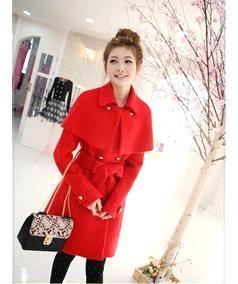 毛皮韩国秋冬装时尚新款气质双排扣羊毛中长大衣 一件代发