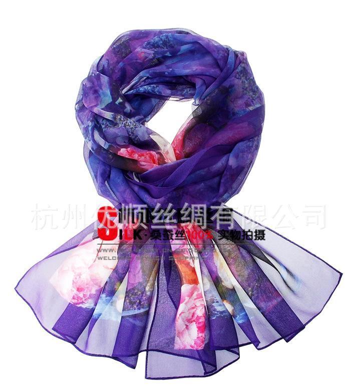 优顺锦精品数码丝巾 100%真丝乔其大长巾 真丝乔其长丝巾紫魅色