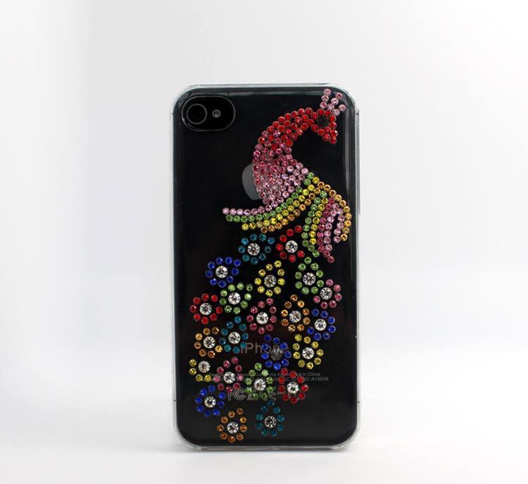 新款手机iphone4444s孔雀手机壳七彩苹果手机保.贴膜水钻包装机图片