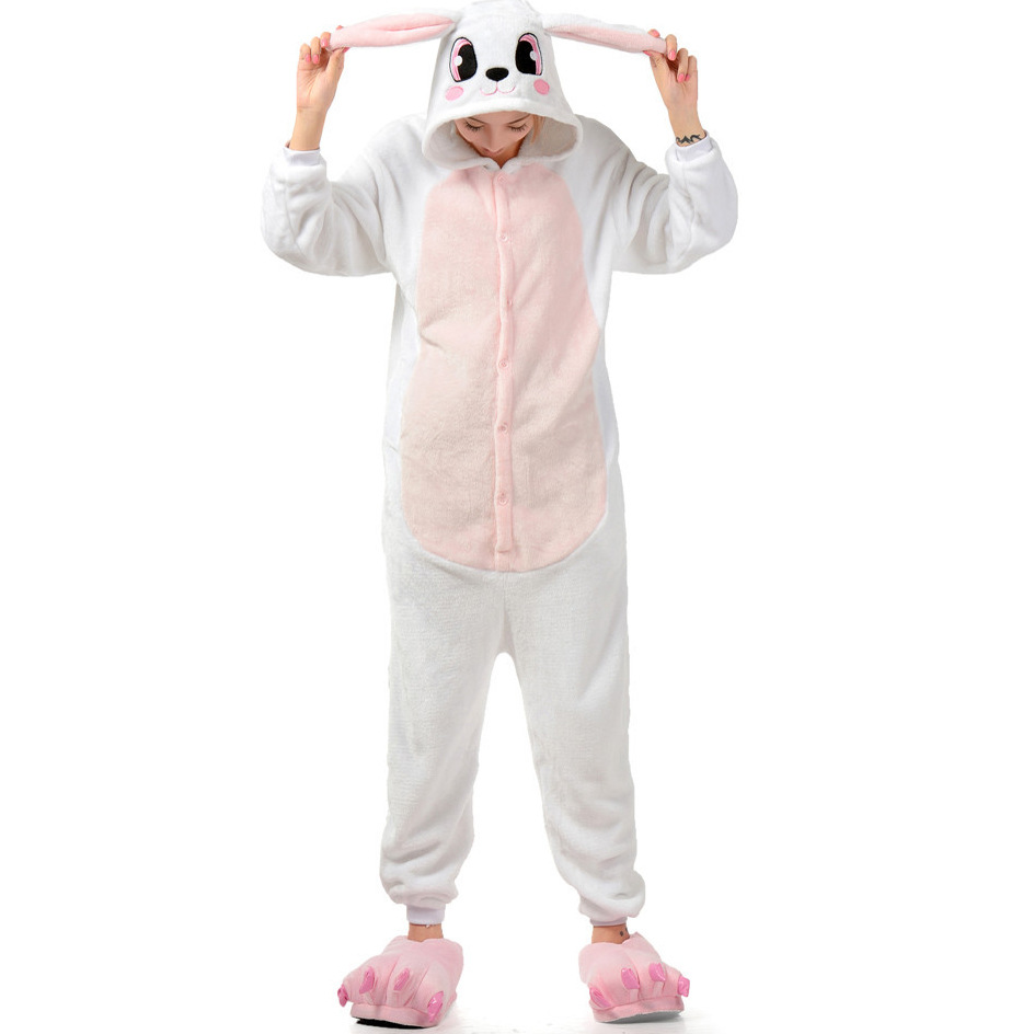 厂家批发粉色兔子秋冬法兰绒加厚男女情侣可爱卡通连体睡衣家居服