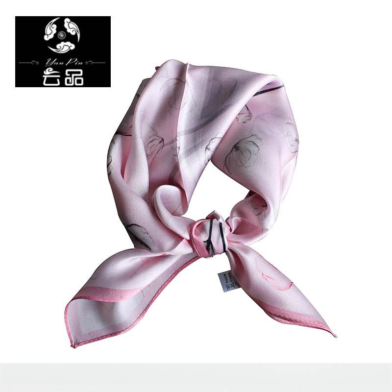 2016云品新款丝巾 真丝桑蚕丝印花围巾职业女士小领巾小方巾直销