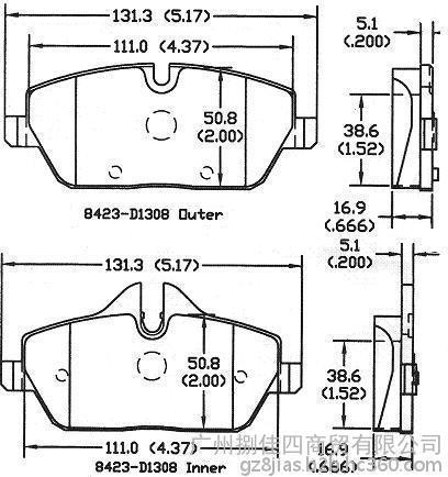 前刹车片8423-D1308迷你MINICOOPER(R56)2006–20111
