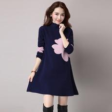 2016秋冬新款韩版大码中长款A版提花毛衣裙女装5950