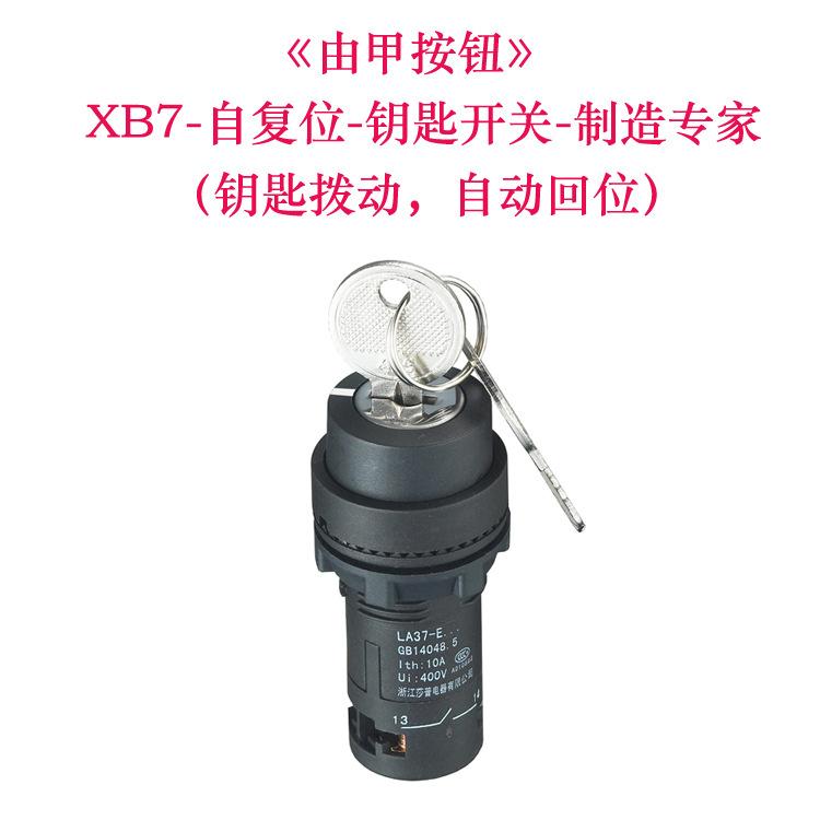 厂家直销LA37-E1G 割草机电启动钥匙开关点火三位自复位钥匙开关