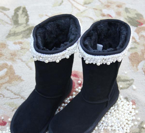 平底高帮高端定制甜美水钻个性黑色高筒可加内增高底平跟雪地靴女