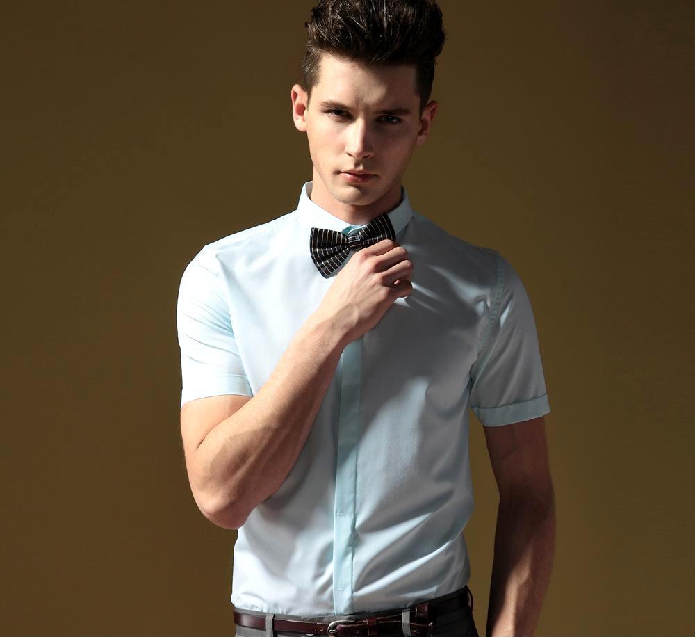 夏裝男士短袖襯衫 批發 男短袖休閑襯衣男短袖 英倫襯衫男潮男裝圖片