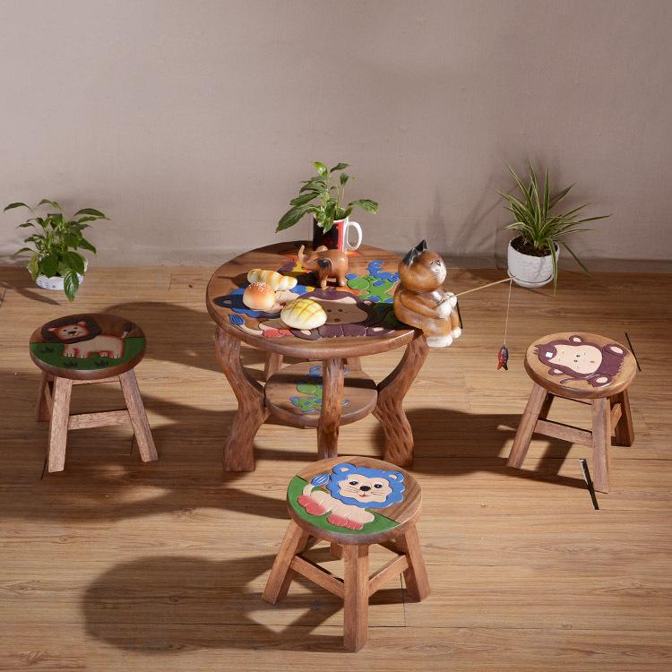 泰国进口东南亚风格儿童学习桌餐桌卡通图5件套儿童礼物批发4737