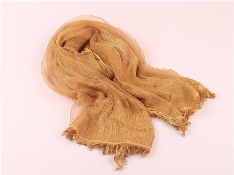 2016春外贸新款复古双层真丝棉麻围巾保暖披肩做旧气质丝巾批发