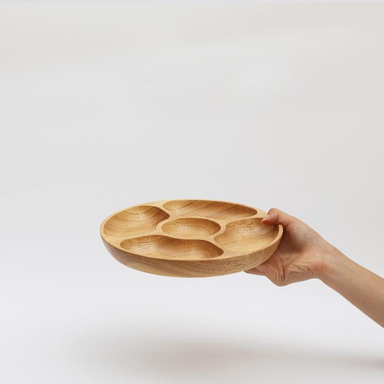 供应 橡木圆形果盘 零食盘子 实木瓜果盘 分隔木盘 多格零食盘点心