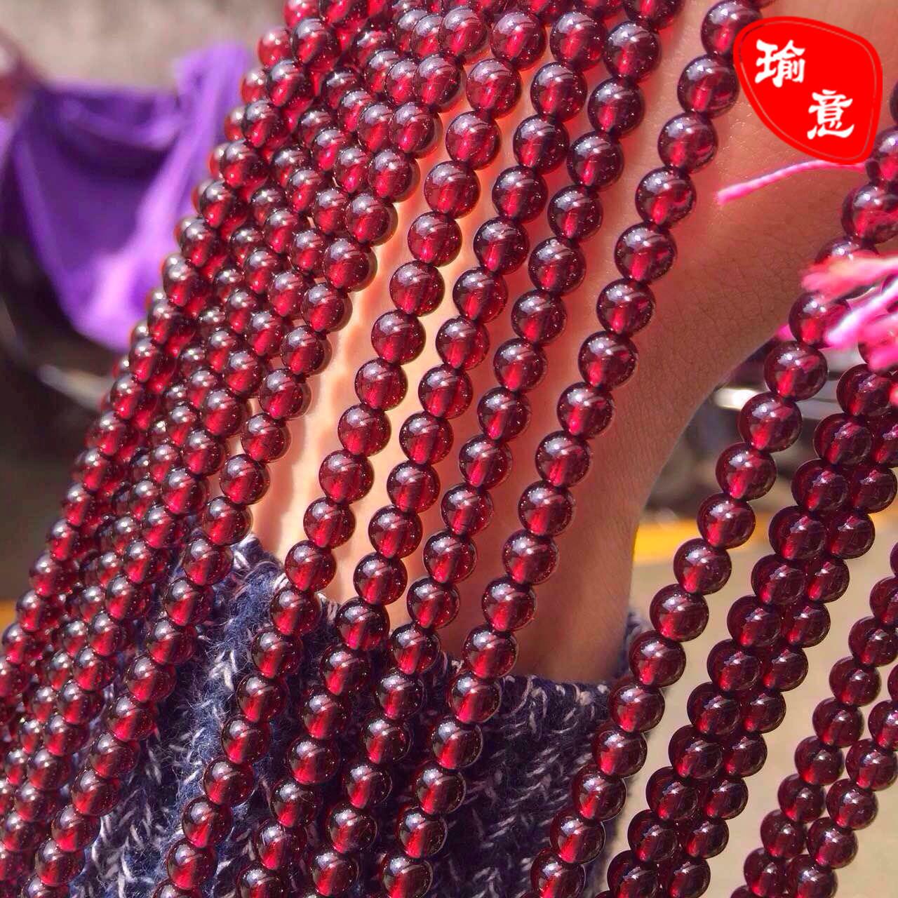 工厂批发7a收藏级天然酒红石榴石散珠子半成品手串长链 一件代发1