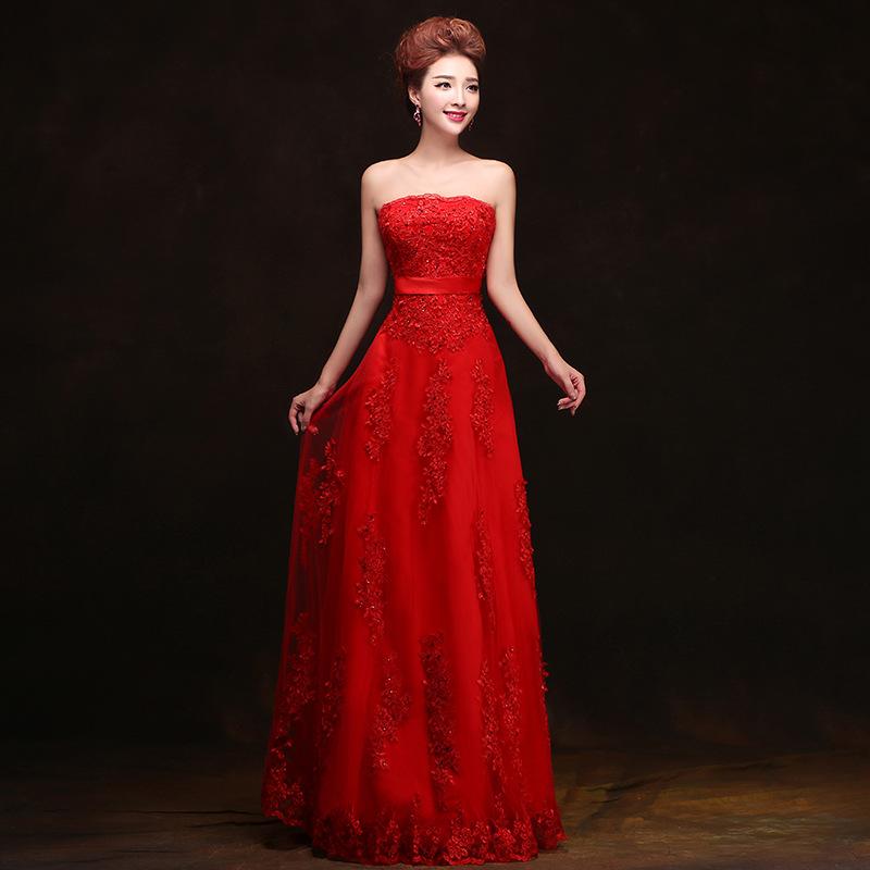 结婚礼服红色长款